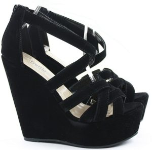 Black High Heel Wedge Sandals