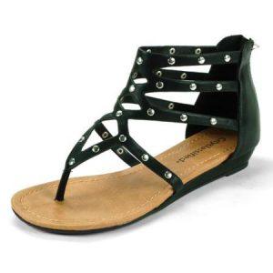 Black Thong Gladiator Sandals