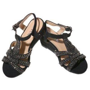 Black Wedge Sandals with Rhinestones