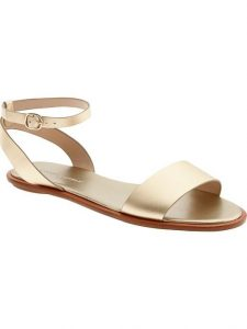 Gold Ankle Strap Flat Sandals