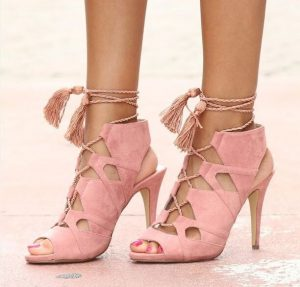 Pink Gladiator Sandals with Tassels