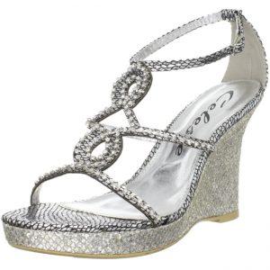 Silver Rhinestone Wedge Sandals