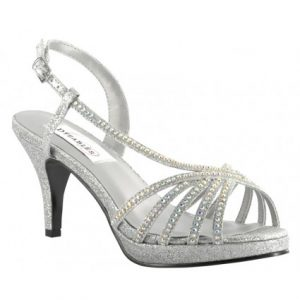 Silver Rhinestone Wedge Wedding Sandals