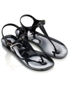 Black Flat Jelly Sandals