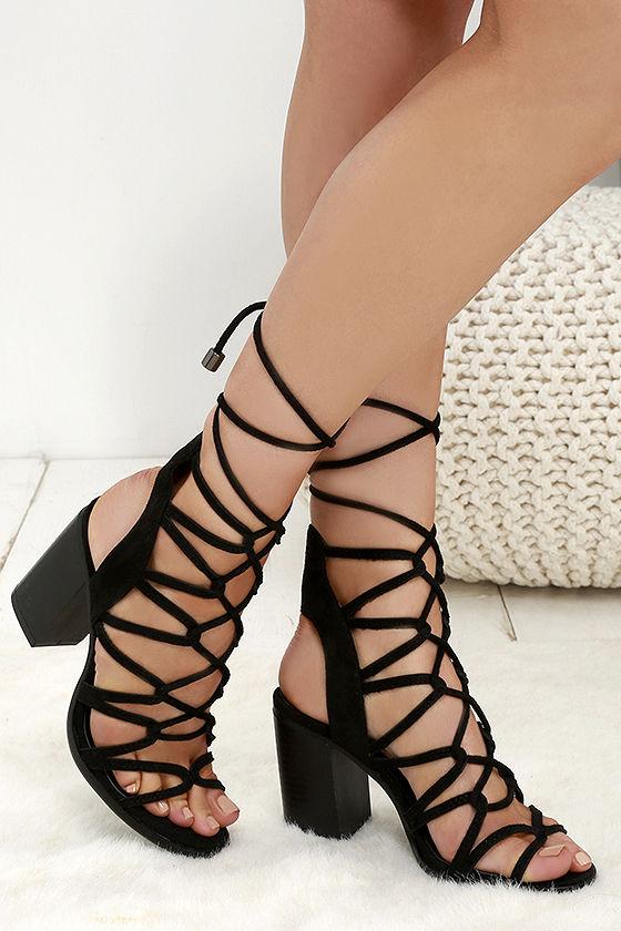 7e47c69a454d Black Suede Lace Up Sandals