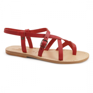 Red Leather Flat Sandals