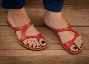 Red Leather Sandals Pictures