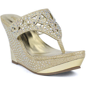 256b769a2f650 Rhinestone Wedge Sandals