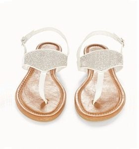 White Rhinestone Sandals Flats