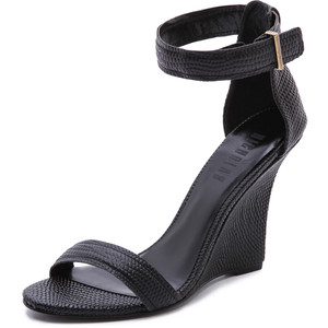 Black Ankle Strap Wedge Sandals