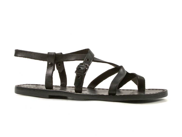 dd76b3e81b5 Black Leather Strappy Sandals