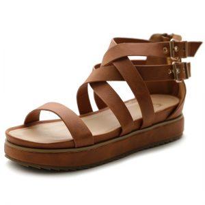 Brown Flat Platform Sandals