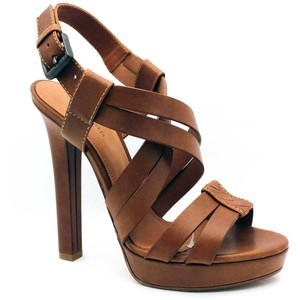 Brown Leather Platform Sandals