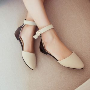 Closed Toe Flat Sandals with Ankle Strap