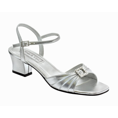 Silver Sandals Low Heel | CraftySandals.com