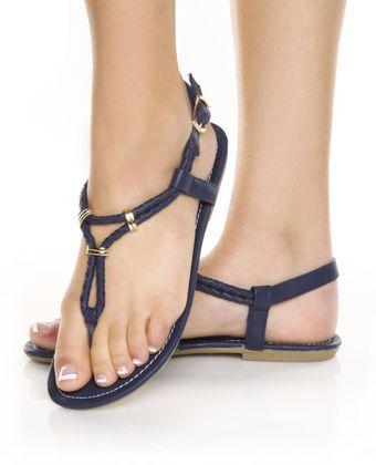6309cd33bf72 Navy Blue Flat Sandals