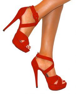 Red Strappy Platform Sandals