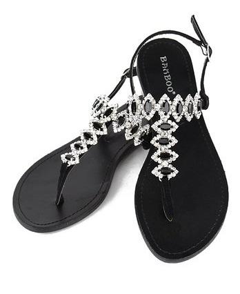 8de4a6f62 Black Rhinestone Sandals