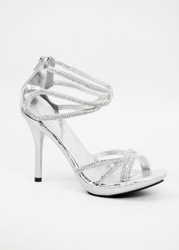 Silver Rhinestone Sandals Wedding