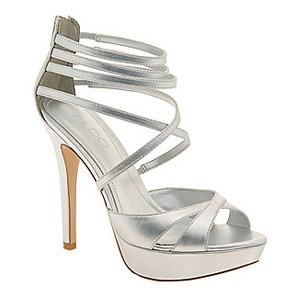 Silver Strappy Platform Sandals