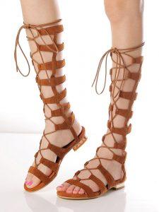 Suede Knee High Gladiator Sandals