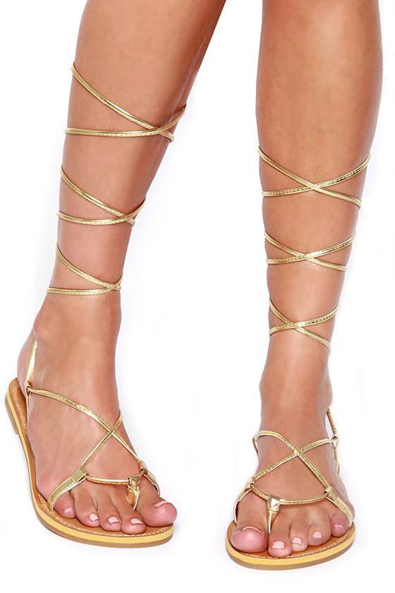 Gold Lace Up Flat Sandals