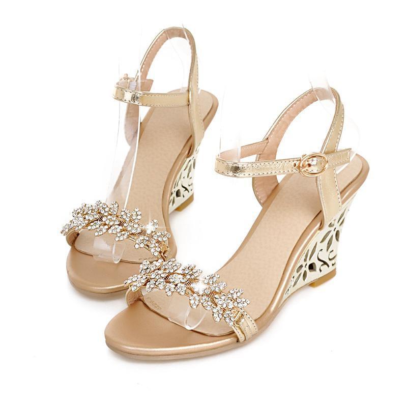4a15437c8679 Gold Rhinestone Heel Sandals