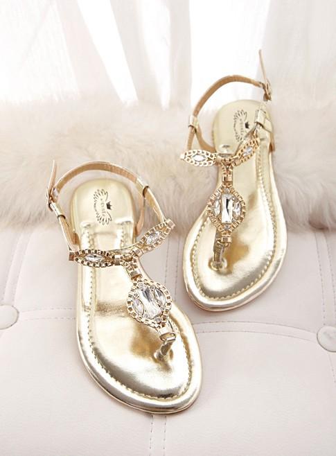 e7c8e89ec866 Gold Rhinestone Sandals