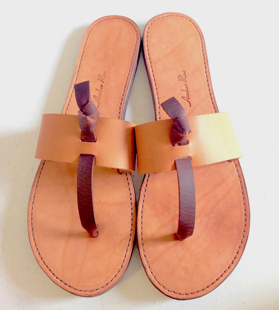 2a438c7c443 Brown Leather Thong Sandals