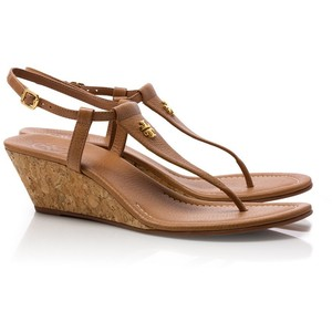 Brown Wedge Thong Sandals