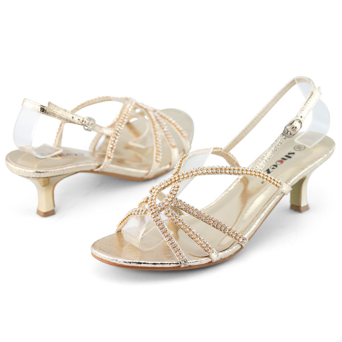 Gold Kitten Heel Sandals