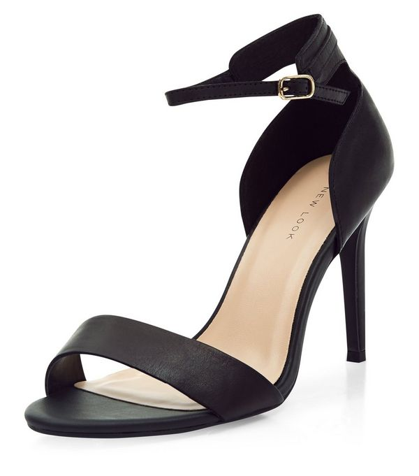 Black High Heeled Sandals with Ankle Strap