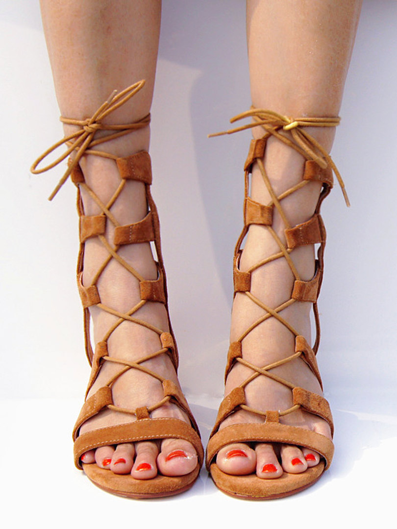 3e8282e0f153 Flat Lace Up Gladiator Sandals
