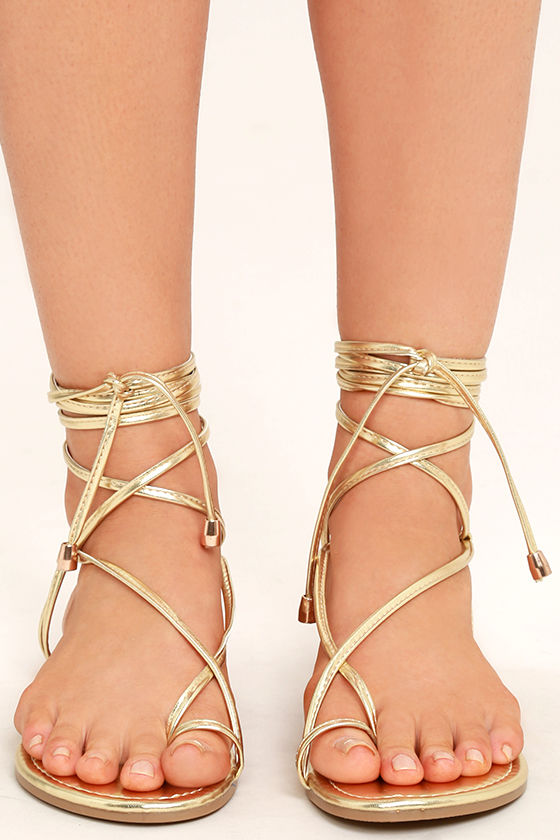 aa5ca476acdf7c Gold Lace Up Flat Sandals