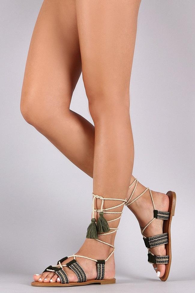 11742ce30765de Ribbon Lace Up Flat Sandals