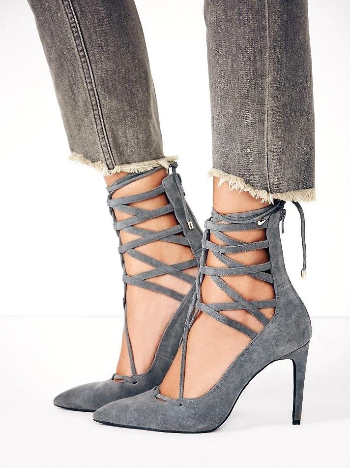 80559b545308 Gray Suede Closed-Toe Gladiator Sandals