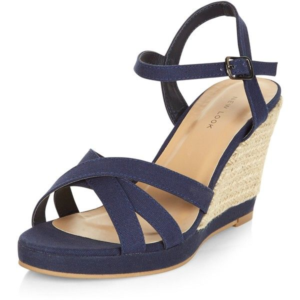 Ladies Wedge Navy Shoes