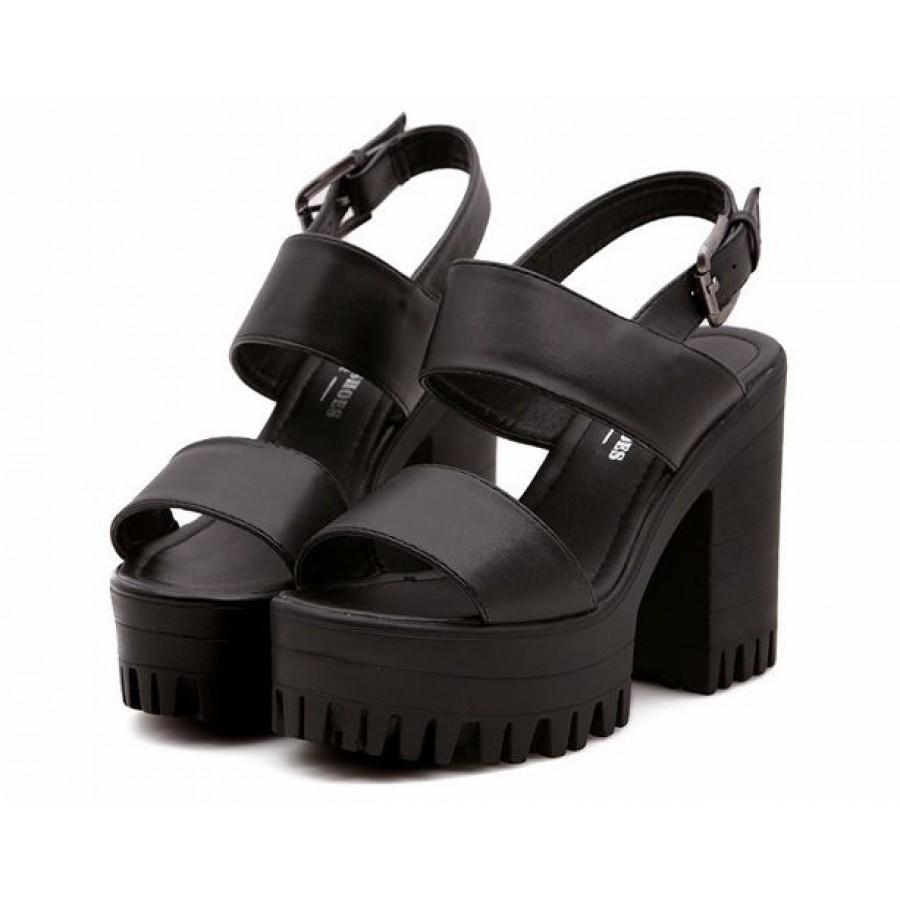 26a563e0a5a Chunky Black Platform Sandals