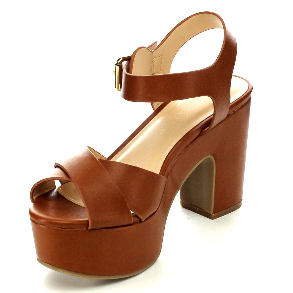 Brown Chunky Platform Sandals