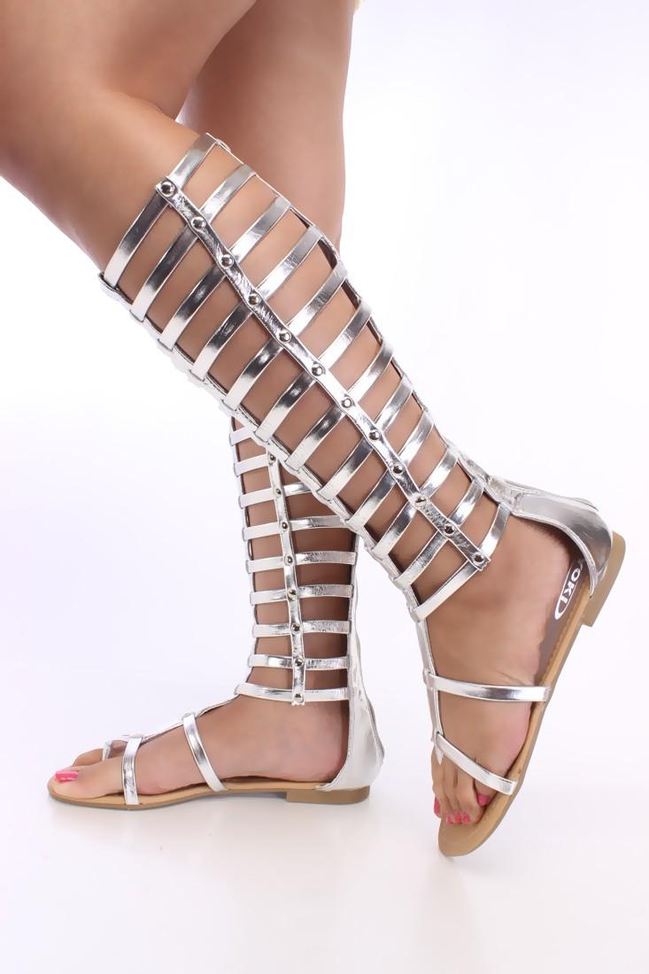 0b97ddad6ea Silver Gladiator Sandals