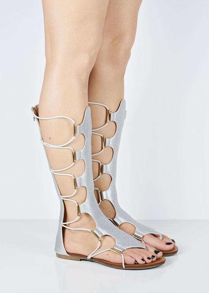 c3e12cc5dc4 Silver Gladiator Sandals Knee High