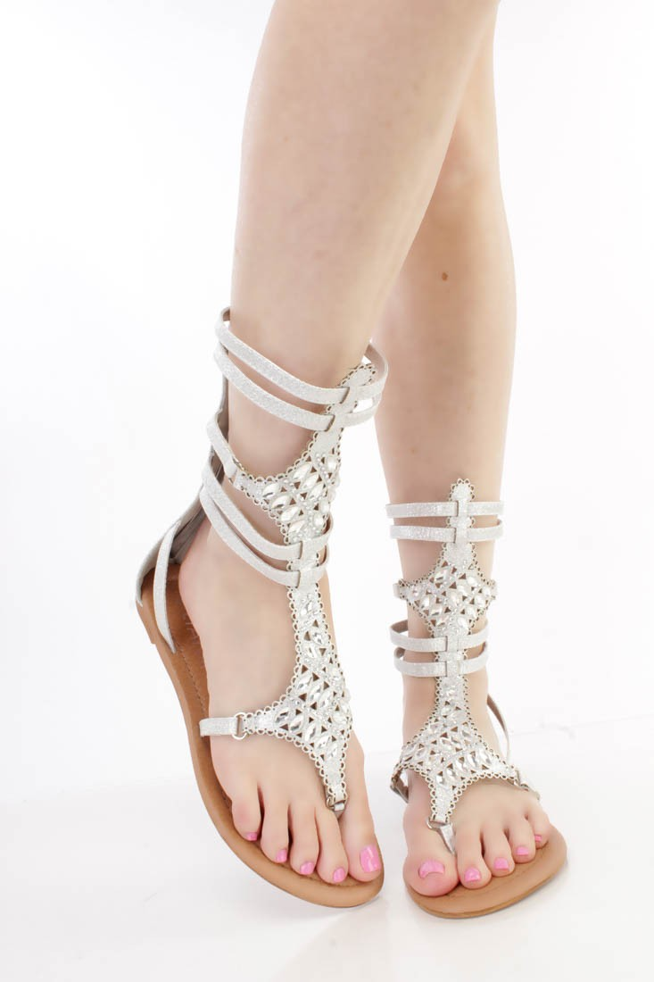 eb3999861c1 Mid-calf Silver Gladiator Sandals