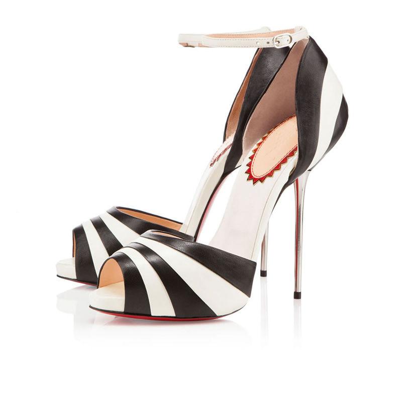 8f4b87e7f Black and White Heeled Sandals