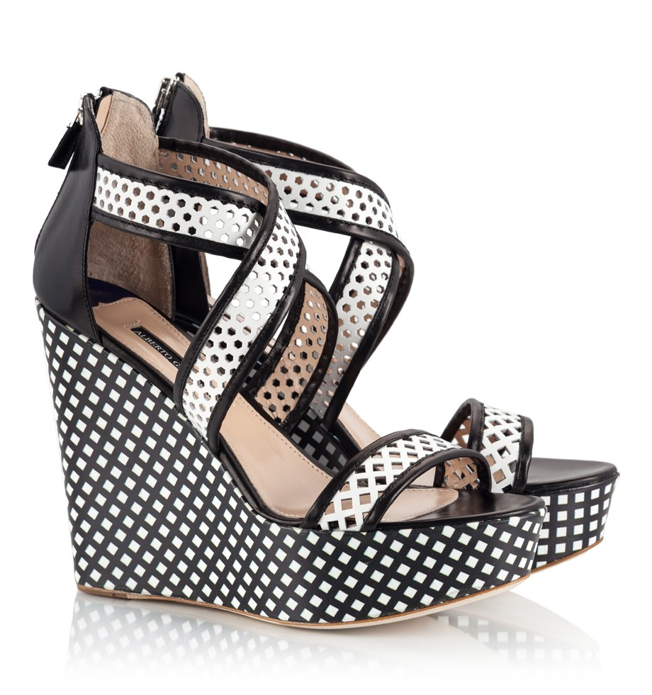 781a1de27 Black and White Wedge Sandals