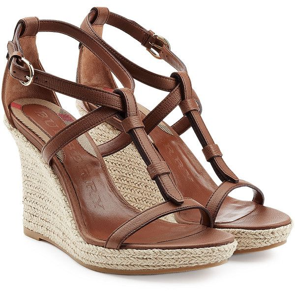 e0d399801330 Brown Leather Wedge Sandals