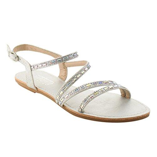 Silver Rhinestone Flat Sandals