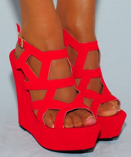 a3a76d90775 Red Wedge Heel Sandals