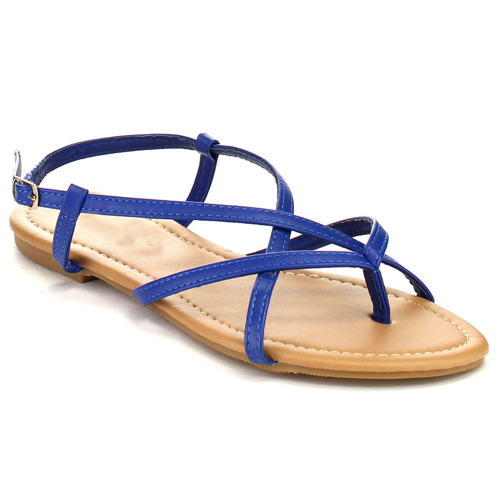 Blue Strappy Flat Sandals