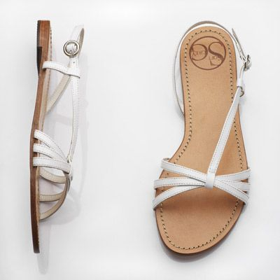 White Flat Strappy Sandals