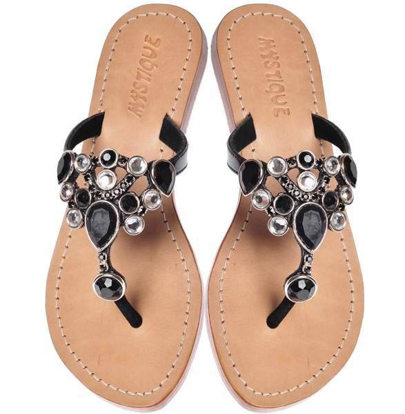 87e90fb98 Black Jeweled Sandals